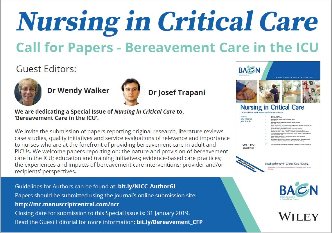 Nursing in Critical Care Call for Papers | News | BACCN